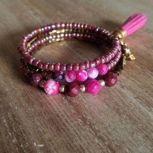 Fucshia Agate Wrap Bracelet
